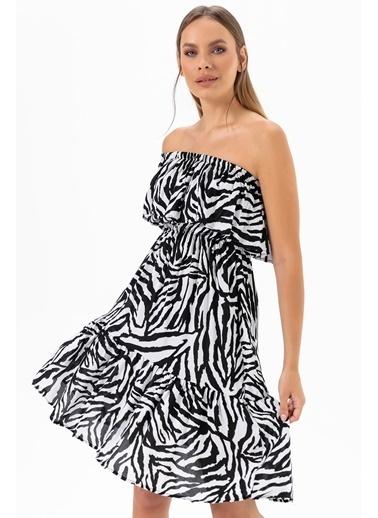 Emjey Tek Omuz Elbise Zebra